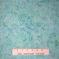 Bali Batik Fabric - Mint Green Flower Toss - Princess Mirah Quilt Cotton YARD