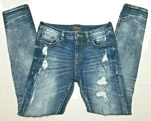 Remix By Rock Revival Womens Sz 26 Mid Rise Distressed Destroyed Skinny Jeans