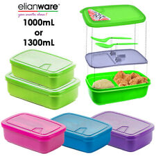 1L / 1.3L BPA Free Lunch Box Food Containers 2 Compartments + Fork Spoon