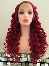Red Burgundy Curly Wig Lace Front Heat Resistant Ok 24 Inch Long