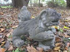 "Very Cool Old Foo Lion Vintage Cement/Concrete Garden Statue 16"" Long"