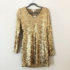 NEW Michael Kors Sequin Gold Dress Womens Sz S Party Formal Cocktail, lined NWT
