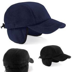 Warm Fleece BLACK or BLUE Everest Baseball Cap Hat with Ear Flaps