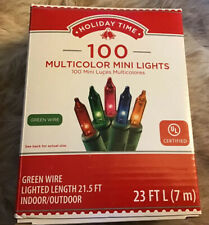 Holiday Time 100ct Multicolor Mini Christmas Lights, Green Wire, 23ft Long