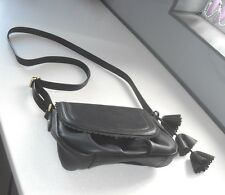 M&S Per Una  Black Vegan Leather Shoulder Across Body Saddle Bag VCC