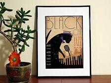 Chat noir jazz bar-affiche A4-livraison gratuite