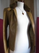 Ladies M&S tan real leather JACKET COAT UK 16 14 biker bomber zip fur collar