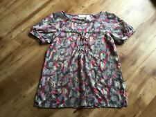 DKNY Grey Pink & Green Patterned Soft Short Sleeved Top Blouse Size S 10/12