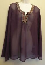 Nougat UK16-18 EU44-46 US12-14 new deep purple beaded neck sheer tunic/top