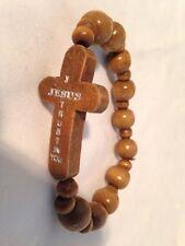 Brown Wooden Religious Bracelet - I Trust In You Jesus
