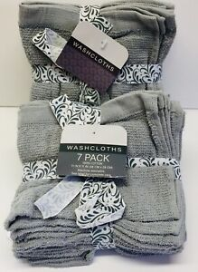 """Wash Towels/Cloths Gray 100% Cotton-2 Packs of 7 = 14 (11""""X11"""") Face-Body-Basic."""