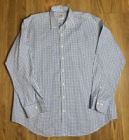 Men's Peter Millar 100% Cotton Button-Down Nanoluxe Blue Check Casual Shirt XL
