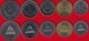 Nicaragua set of 5 coins: 10 centavos - 5 cordobas 2014-2015 UNC