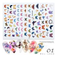 DIY Charm Waterproof 3D Nail Art Sticker Butterfly Colorful Nail Decals