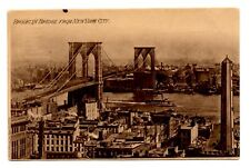 Pre-1910 View Brooklyn Bridge from New York City Uncirculated German made