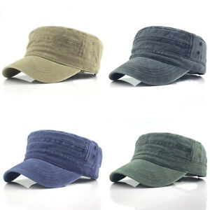 Solid Cotton Military Hat Cap Army Cadet Men Women Casual Size Adjustable Strap