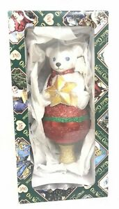 """Old World Christmas Glass Ornament Tree Topper 2010 Teddy Bear 7"""" CO-12"""