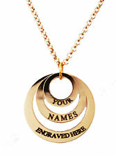 Personalised Engraved Name Necklace 18K Plated  Gold  3 Ring UK birthday gift