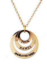 Collar de identificación grabada personalizada chapado en oro de 18K 3 Anillo Reino Unido Regalo De Cumpleaños