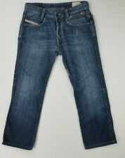 Diesel Button Fly Logo's Paddom Special Wash 008BM Men's Blue Denim Jeans Sz 30