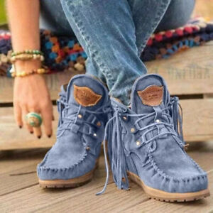 2021 New European Women Leather Boots Plus Size Ribbon Fringed Boots