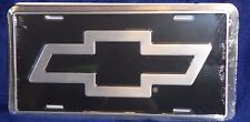 SILVER BOWTIE CHEVROLET ALUMINUM LICENSE PLATE SILVER & BLACK CHEVY MADE IN USA