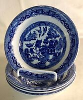 """4 English Blue Willow 6 1/4"""" Cereal Bowl"""