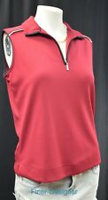 Tehama Womens Golf Polo shirt top sleeveless slinky stretch blouse zip SZ M NEW
