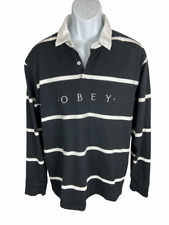 Obey Worldwide Black White Striped Rugby Long Sleeve Polo Shirt Men's Size Large