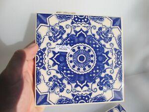 Vintage Ceramic Tile Blue & White Leaf Nouveau Old Antique Georgian STYLE -£9eac
