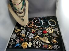 Large lot vintage jewelry including natural stone and Cloisonne