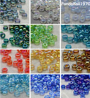 50g 11/0 Round AB Rainbow Transparent Mini Glass Seed Beads about 3000pcs/50g