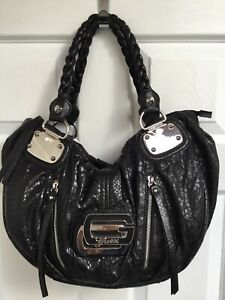 GUESS Large Black Slouchy Two Handle Shoulder Bag