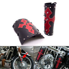 New Motorcycle Black Red Cross PU Leather Front Fork Cover With Chrome spikes