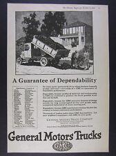 1924 GMC General Motors Trucks road building construction art vintage print Ad