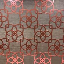 Wallpaper Designer Copper Coral Metallic Trellis on Bronze Brown Texture