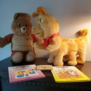 TEDDY RUXPIN AND GRUBBY---1985---WITH 2 BOOKS AND AIRSHIP TAPE
