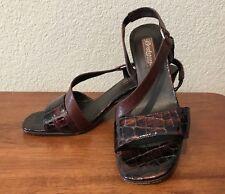 Brighton Rhodes Brown Leather Croc Heels w/Slingback Open Toe Sandals Size 7.5M