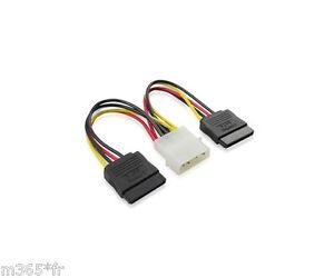 Câble Adaptateur Alimentation MOLEX IDE vers 2 SATA disque Dur