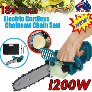 "8"" 1200W Cordless Electric Chainsaw Brushless Wood Cutter For Makita Battery 18V"