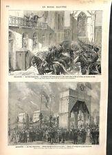 Roi & Reine des Pays-Bas Fêtes d'Amsterdam Place du Dam & Rambrandt GRAVURE 1879