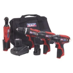 Sealey CP1200COMBO 4 Piece 12v Cordless Power Tool Kit + 2 Batts