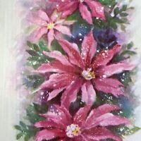 Vintage Mid Century Christmas Greeting Card Pink Glitter Flowers Poinsettias