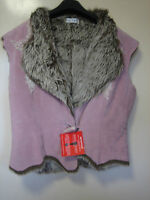A ( NEW ) WOMENS LOVELY TOGETHER LIGHT PINK SUEDE FAUX FUR LINED GILET  SIZE 12