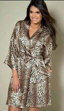 NEW LADIES ANIMAL PRINT SATIN FEEL KIMONO DRESSING GOWN ROBE SIZE LARGE 14 TO 16