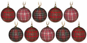 Traditional Tartan Christmas Tree Baubles Decorations (Set of 10)