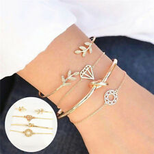 Fashion Women 4Pcs Leaf Knot Simple Adjustable Open Bangle Gold Bracelet Jewelry