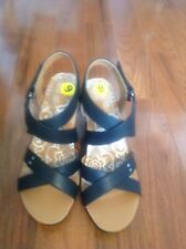 NEW Ladies Size 9M Mootsie Tootsies Black Wedge Cork Heel Sandals