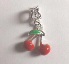pendentif argenté cerises rouges 16x15 mm