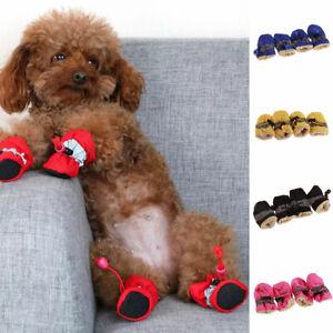 Waterproof Non-slip Pet Dog Shoes Puppy Rain Fleece Boots Feet Paw Protec S-4XL